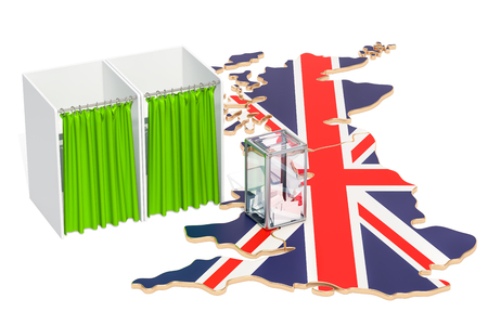 British election concept, ballot box with voting booths on map of Great Britain, 3D rendering Banque d'images