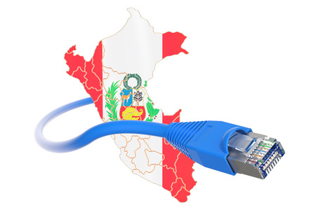 Internet connection in Peru concept. 3D rendering isolated on white background