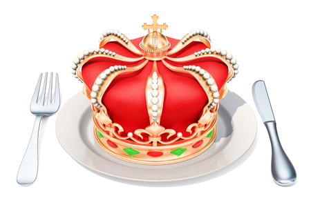 Plate with golden crown, 3D rendering isolated on white background
