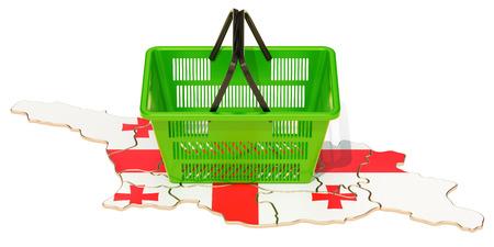 Shopping basket on Georgian map, market basket or purchasing power in Georgia concept. 3D rendering Stock Photo