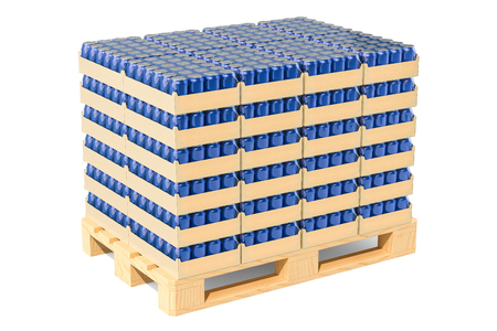 Wooden pallet with drink metallic cans in shrink film, 3D rendering isolated on white background