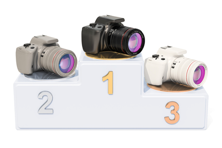 Digital SLR ratings concept. Winners podium with digital camera, 3D rendering isolated on white background Stock Photo