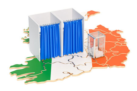 Irish election concept, ballot box with voting booths on map of Ireland, 3D rendering