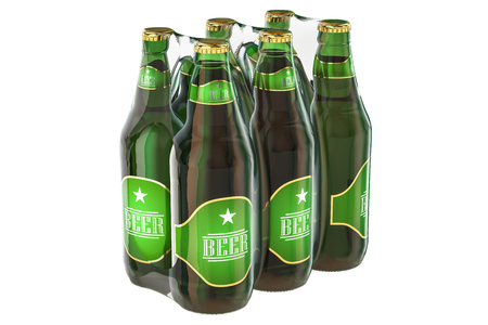 Package of glass beer bottles in shrink film, 3D rendering isolated on white background Stock Photo