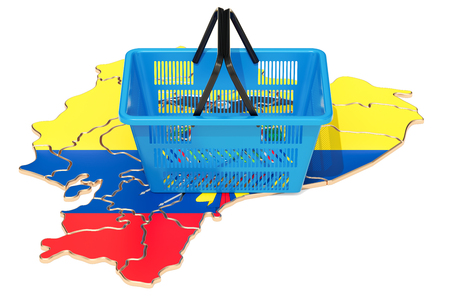 Shopping basket on Ecuadorian map, market basket or purchasing power in Ecuador concept. 3D rendering