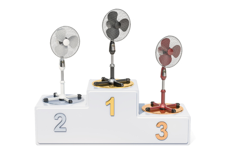 Standing pedestal electric fans ratings concept. Winners podium with electric fans, 3D rendering
