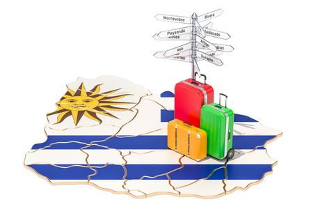Uruguay travel concept. Map with suitcases and signpost, 3D rendering