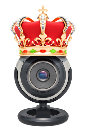 Webcam with golden crown, 3D rendering isolated on white background