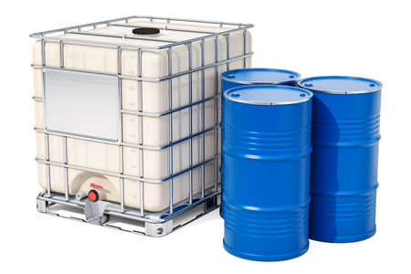 Intermediate bulk container with metallic barrels, 3D rendering isolated on white background