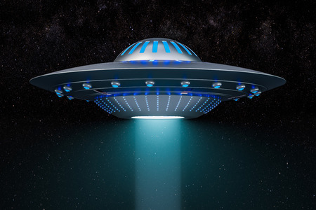 Light beam from flying UFO in space. 3D rendering 写真素材