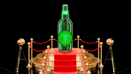 Podium with glass beer bottle, presentation of new beer concept. 3D rendering isolated on black background