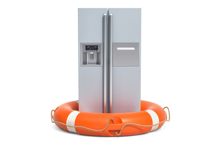 Repair and service of fridge concept. 3D rendering isolated on white background