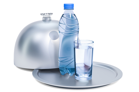 Restaurant cloche with plastic water bottle and glass of water, 3D rendering isolated on white background
