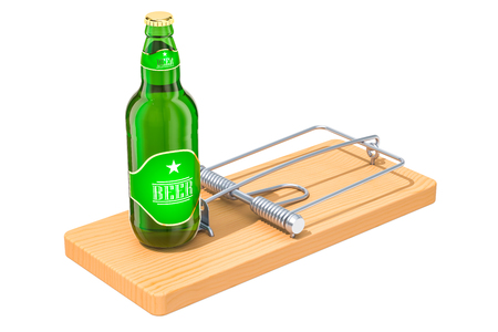 Alcohol Trap concept. Beer bottle in the mousetrap, 3D rendering isolated on white background