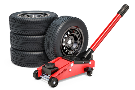 Car wheels with hydraulic floor jack, 3D rendering isolated on white background