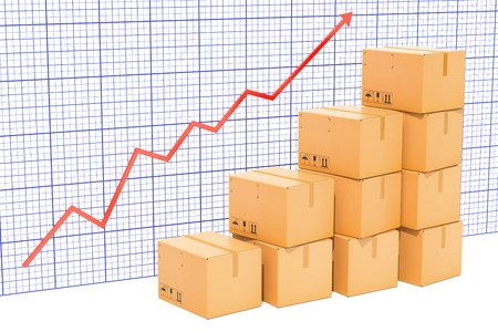 Chart of increasing exportation and shipping, growing chart. 3D rendering 스톡 콘텐츠