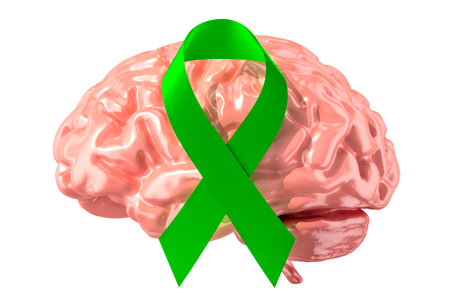 Green ribbon with human brain. Mental world awareness day concept, 3D rendering isolated on white background