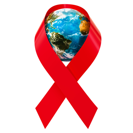 HIV AIDS Awareness Red Ribbon with Earth Globe, 3D rendering isolated on white background Imagens
