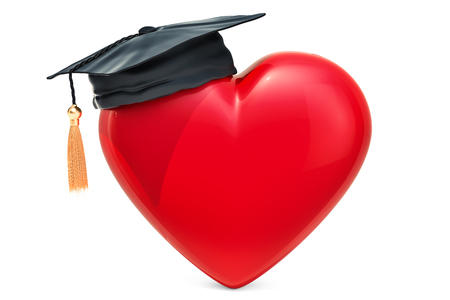 Red heart with graduation cap. Sex education concept, 3D rendering  isolated on white background Stock Photo