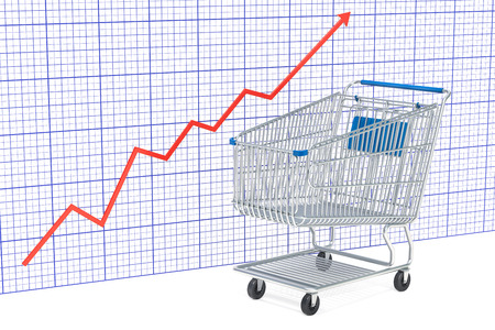 Shopping cart with growing chart, 3D rendering isolated on white background Stock Photo