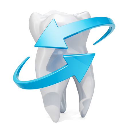 Tooth with blue arrows. Teeth protection concept, 3D rendering isolated on white background Фото со стока