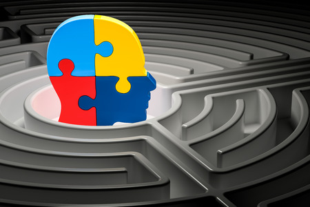 Autism concept, human head from puzzles at center of a maze. 3D rendering