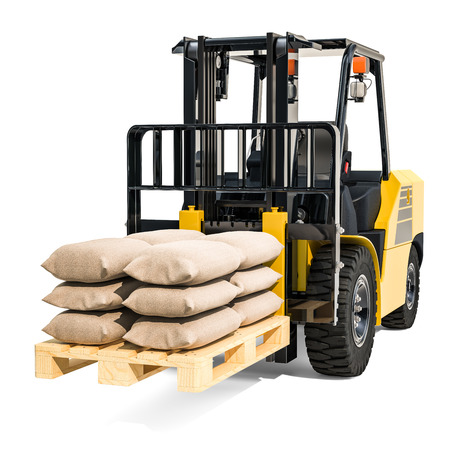 Forklift truck with sacks, 3D rendering isolated on white background