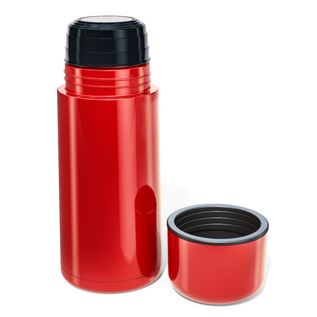Red thermos, 3D rendering isolated on white background Banco de Imagens
