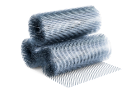 Welded wire mesh rolls, 3D rendering isolated on white background Stock Photo