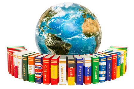 Languages Books with Earth Globe, 3D rendering isolated on white background 写真素材