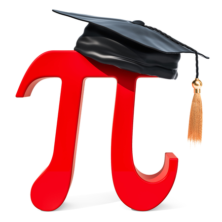 Letter pi with graduation cap, 3D rendering isolated on white background