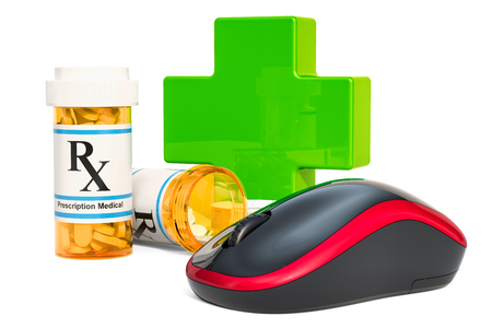 Online drugstore concept, computer mouse with drugs. 3D rendering isolated on white background
