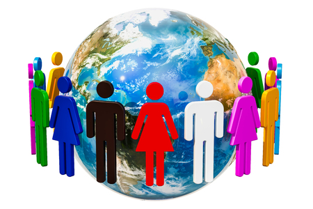 People around the Earth Globe, 3D rendering isolated on white background