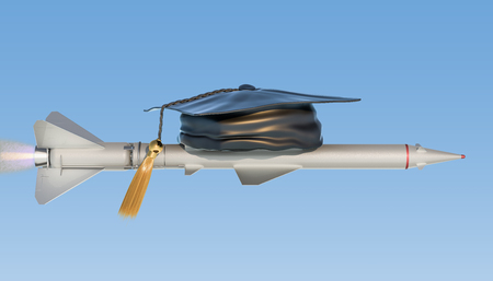 Smart Missile concept, missile with graduation cap. 3D rendering isolated on white background