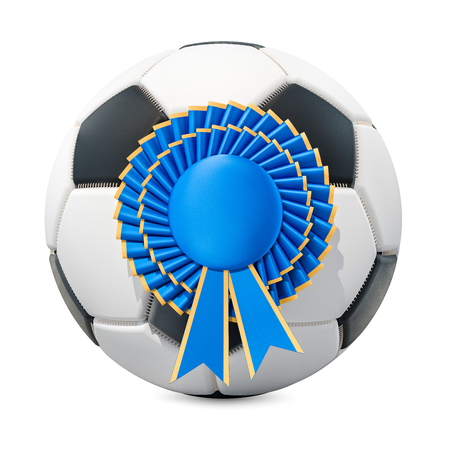 Soccer ball with blue winning award, badge. 3D rendering isolated on white background