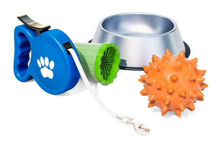 Accessories for dogs, 3D rendering isolated on white background
