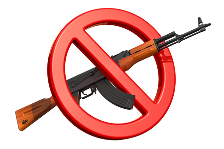 Assault rifle with forbidden sign, 3D rendering isolated on white background