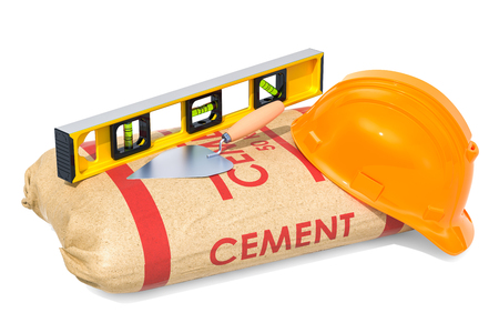 Construction concept. Cement sack with masonry trowel and spirit level, 3D rendering isolated on white background Stockfoto