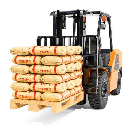 Forklift truck with cement bags, 3D rendering isolated on white background Reklamní fotografie
