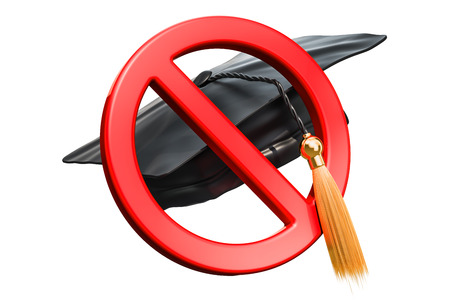 Prohibition sign with graduation cap, 3D rendering isolated on white background