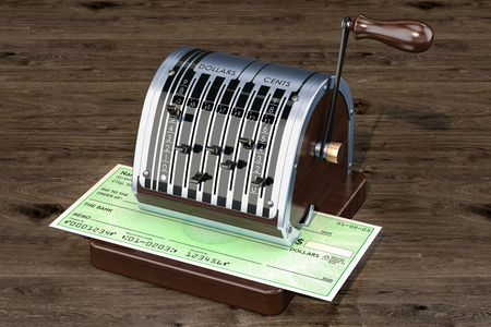 Retro check writer with bank check, 3D rendering Stock Photo