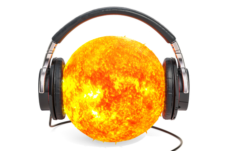 Sun with headphones, 3D rendering isolated on white background