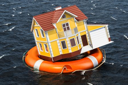 Flood insurance concept. Home inside lifebuoy swimming in the water. 3D rendering Archivio Fotografico