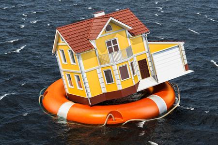 Hochwasserversicherungskonzept. Zuhause im Rettungsring, der im Wasser schwimmt. 3D-Rendering