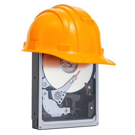Hard Disk Drive HDD with hard hat , protection concept. 3D rendering isolated on white background Stock Photo