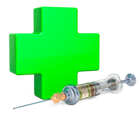 Medical care concept, green cross with drugs. 3D rendering isolated on white background Stock Photo