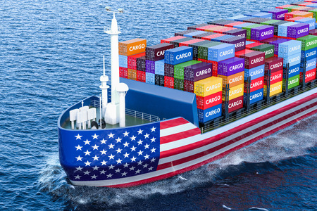 American freighter ship with cargo containers sailing in ocean, 3D rendering