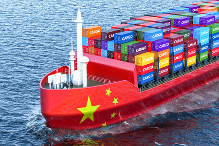 Chinese freighter ship with cargo containers sailing in ocean, 3D rendering