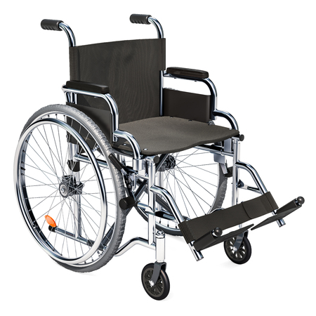 Empty wheelchair, 3D rendering isolated on white background Stock Photo