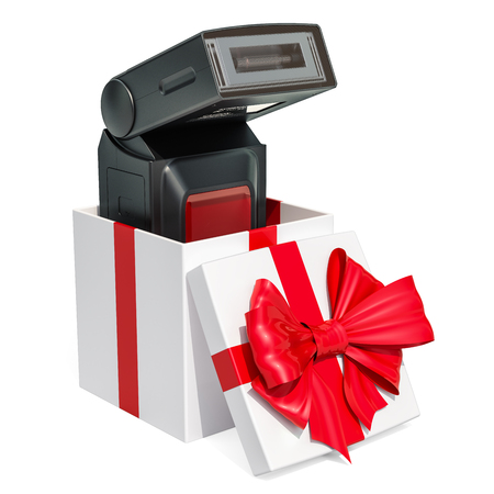 Gift concept, photography electronic external flash inside gift box. 3D rendering